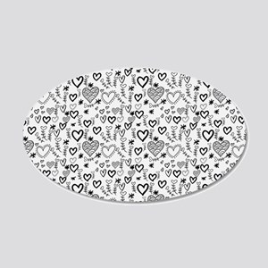 Cute Doodle Hearts Pattern B 20x12 Oval Wall Decal