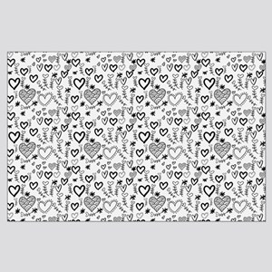 Cute Doodle Hearts Pattern Background Large Poster
