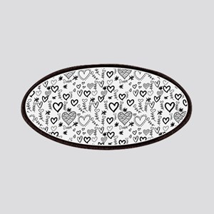 Cute Doodle Hearts Pattern Background Patch