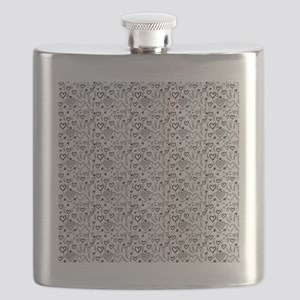 Cute Doodle Hearts Pattern Background Flask