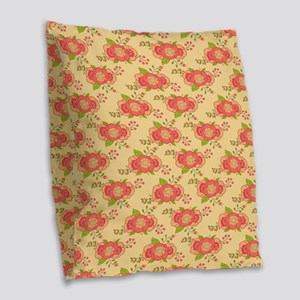 Orange Retro Floral Pattern Burlap Throw Pillow