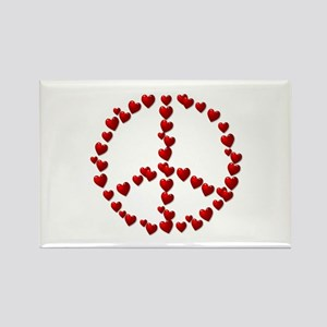 Red Hearts Peace Symbol Magnets