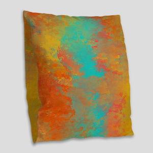 The Aqua River Burlap Throw Pillow