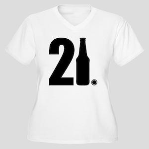 21 beer bottle Women's Plus Size V-Neck T-Shirt