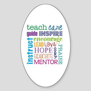 Teacher subway art Sticker (Oval)