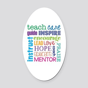 Teacher subway art Oval Car Magnet