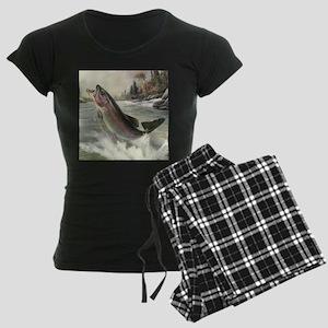 Vintage Rainbow Trout Women's Dark Pajamas