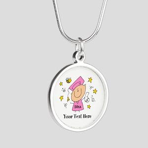 Cute Girl Graduate Silver Round Necklace