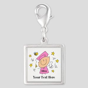 Cute Girl Graduate Silver Square Charm