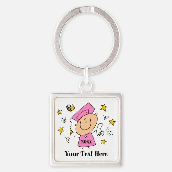 Cute Girl Graduate Square Keychain