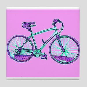 Pink Bicycle Cycling Wondrous Velo Bi Tile Coaster