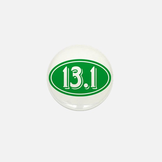 13.1 Half Marathon Oval Green Mini Button