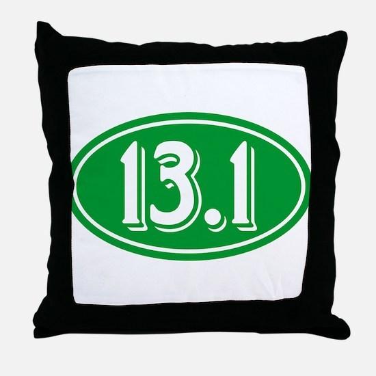 13.1 Half Marathon Oval Green Throw Pillow