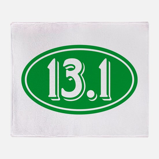13.1 Half Marathon Oval Green Throw Blanket