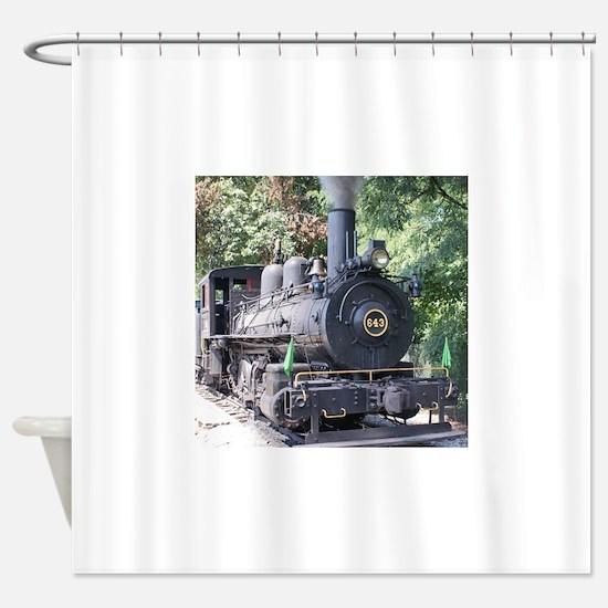 steam train close up shot Shower Curtain