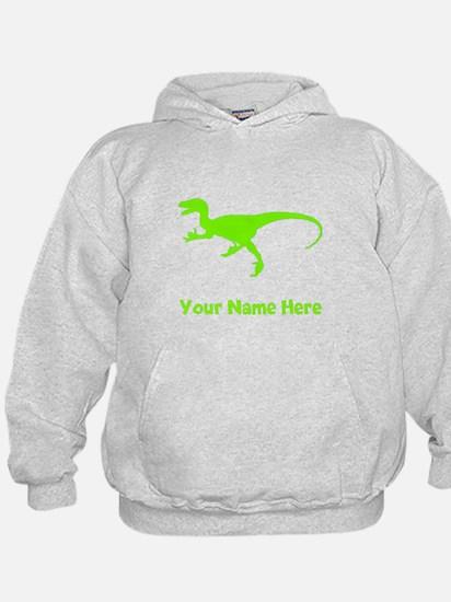Velociraptor Silhouette (Green) Hoodie
