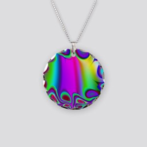Rainbow Fractal Necklace Circle Charm