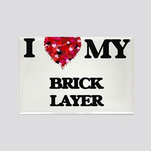 I love my Brick Layer hearts design Magnets