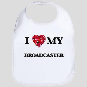 I love my Broadcaster hearts design Bib