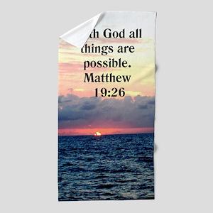 Matthew 19:26 Love Beach Towel