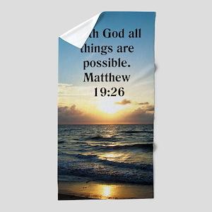 Matthew 19:26 Bible Beach Towel