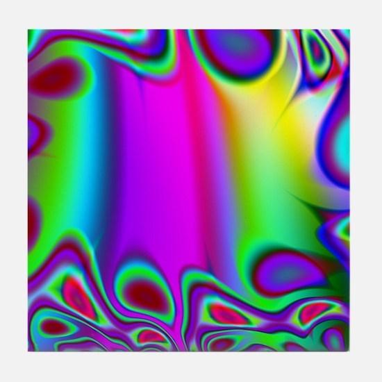 Rainbow Fractal Tile Coaster