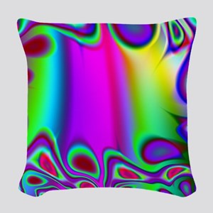 Rainbow Fractal Woven Throw Pillow