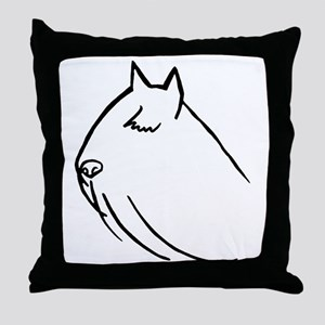 Bouvier Dog Head Sketch Throw Pillow