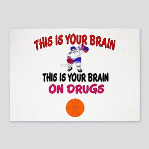 HOCKEY THIS IS YOUR BRAIN 5'x7'Area Rug