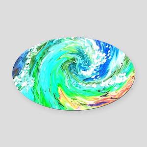Waves Oval Car Magnet