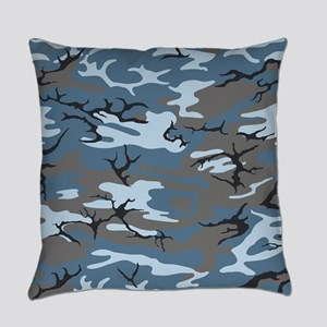 Blue Camouflage Everyday Pillow