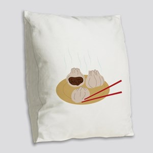 Steamy Dim Sum Burlap Throw Pillow