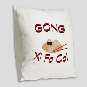 Gong Xi Fa Cai Burlap Throw Pillow