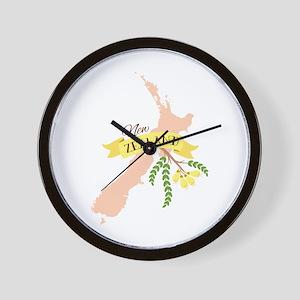New Zealand Kowhai Wall Clock
