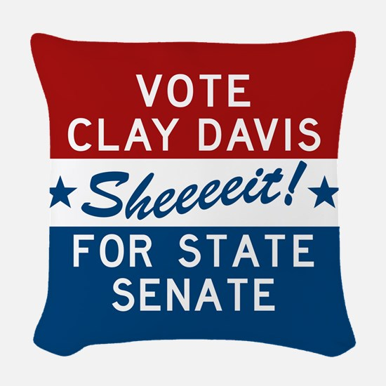 Vote Clay Davis The Wire Woven Throw Pillow