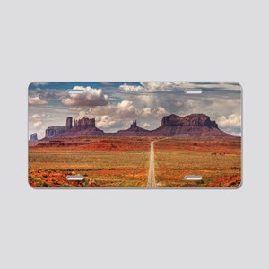 Road Trough Desert Aluminum License Plate