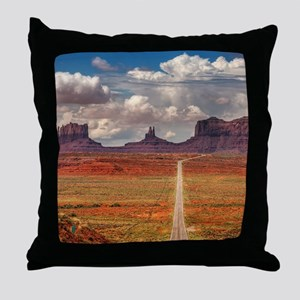 Road Trough Desert Throw Pillow