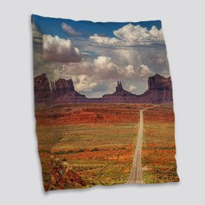 Road Trough Desert Burlap Throw Pillow
