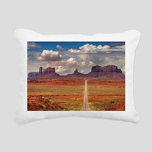Road Trough Desert Rectangular Canvas Pillow