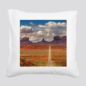 Road Trough Desert Square Canvas Pillow