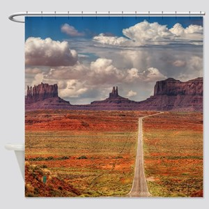 Road Trough Desert Shower Curtain