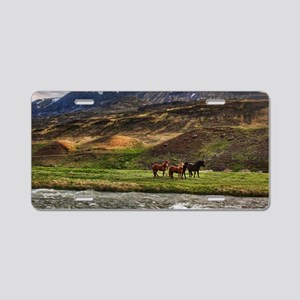 Landscape and Horses Aluminum License Plate