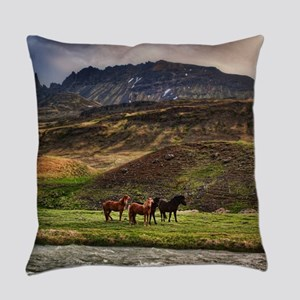 Landscape and Horses Everyday Pillow