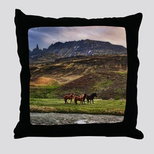 Landscape and Horses Throw Pillow