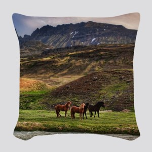 Landscape and Horses Woven Throw Pillow