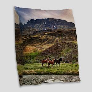 Landscape and Horses Burlap Throw Pillow