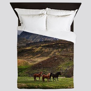 Landscape and Horses Queen Duvet