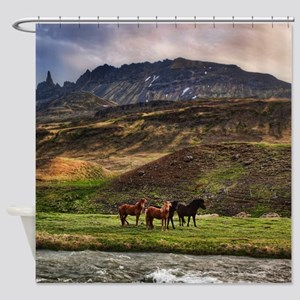 Landscape and Horses Shower Curtain
