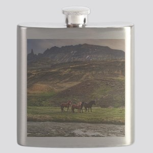 Landscape and Horses Flask