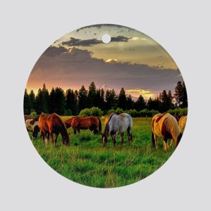 Horses Grazing Ornament (Round)